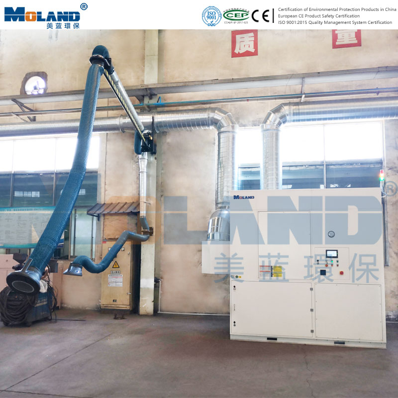Centralized treatment of welding fume in workshop